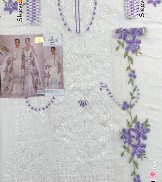 SHENYL FAB 182 OFF WHITE PAKISTANI SALWAR KAMEEZ