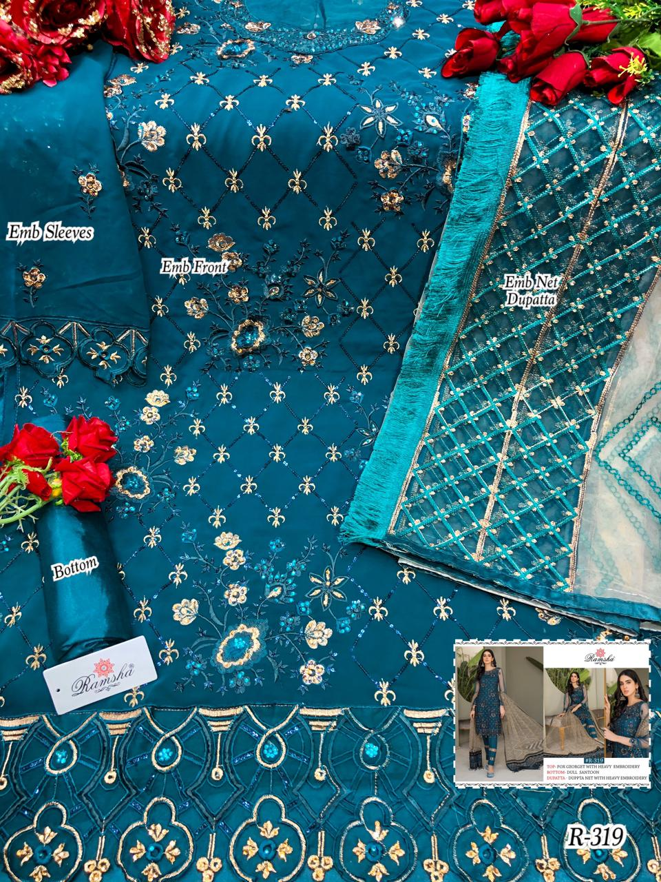 RAMSHA 319 PAKISTANI SUITS SUPPLIER FOR RESELLERS