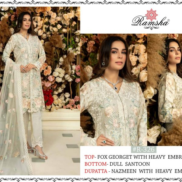 RAMSHA 326 PAKISTANI SUITS WITH FREE SHIPPING