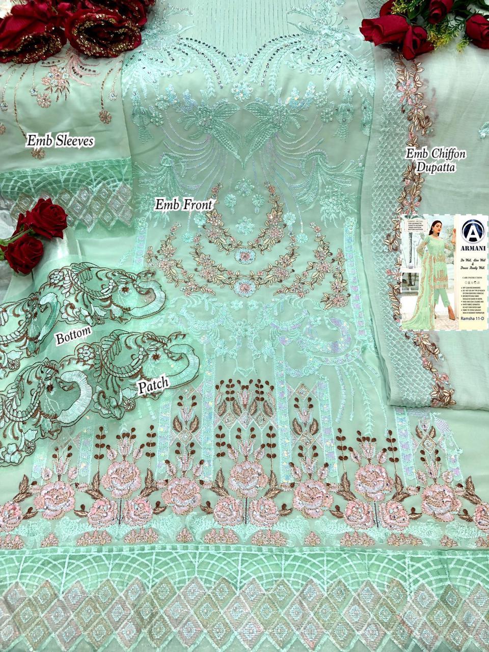 ARMANI RIMSHA 11 GREEN  SALWAR KAMEEZ WHOLESALE
