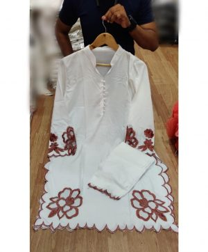 LAIBA WHITE CUT WORK TUNIC WITH CIGARETTES PANTS